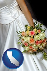 california a bride, wearing a white wedding dress and holding a beautiful bridal bouquet