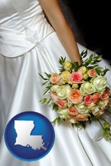 louisiana a bride, wearing a white wedding dress and holding a beautiful bridal bouquet