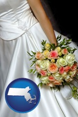 massachusetts a bride, wearing a white wedding dress and holding a beautiful bridal bouquet