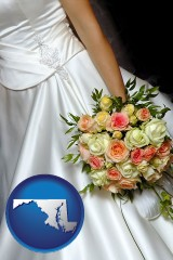 maryland a bride, wearing a white wedding dress and holding a beautiful bridal bouquet