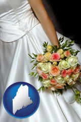 maine a bride, wearing a white wedding dress and holding a beautiful bridal bouquet