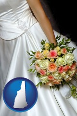 new-hampshire a bride, wearing a white wedding dress and holding a beautiful bridal bouquet