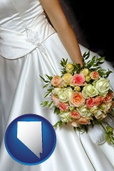 nevada a bride, wearing a white wedding dress and holding a beautiful bridal bouquet