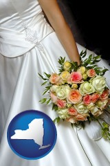 new-york a bride, wearing a white wedding dress and holding a beautiful bridal bouquet
