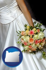 oregon a bride, wearing a white wedding dress and holding a beautiful bridal bouquet