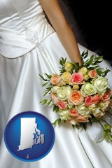 rhode-island a bride, wearing a white wedding dress and holding a beautiful bridal bouquet