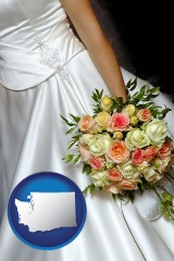 washington a bride, wearing a white wedding dress and holding a beautiful bridal bouquet