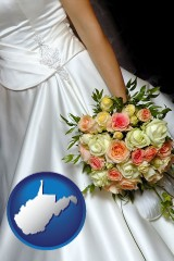 west-virginia a bride, wearing a white wedding dress and holding a beautiful bridal bouquet