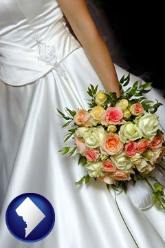 a bride, wearing a white wedding dress and holding a beautiful bridal bouquet - with Washington, DC icon