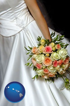 a bride, wearing a white wedding dress and holding a beautiful bridal bouquet - with Hawaii icon
