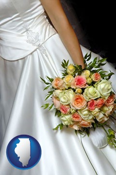 a bride, wearing a white wedding dress and holding a beautiful bridal bouquet - with Illinois icon
