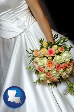 a bride, wearing a white wedding dress and holding a beautiful bridal bouquet - with Louisiana icon