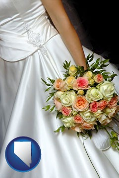 a bride, wearing a white wedding dress and holding a beautiful bridal bouquet - with Nevada icon