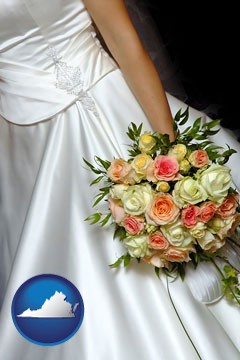 a bride, wearing a white wedding dress and holding a beautiful bridal bouquet - with Virginia icon