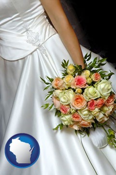a bride, wearing a white wedding dress and holding a beautiful bridal bouquet - with Wisconsin icon